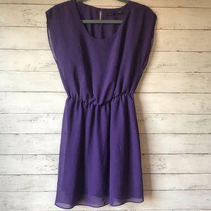 Poetry Purple A Line Floaty Dress - Size Medium